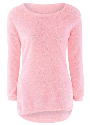 Long Sleeve Asymmetric Pink Pullover Sweater with cheap wholesale ...