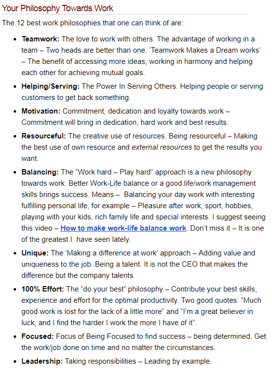 work philosophy examples  what is your philosophy towards work