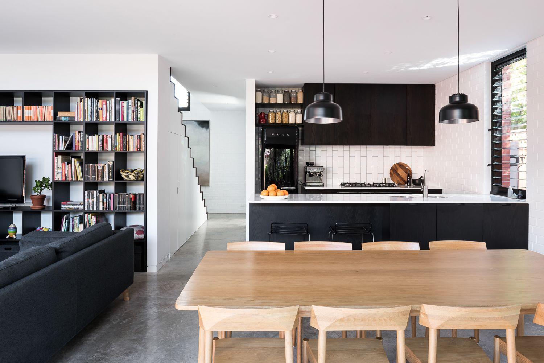 Black and white modern open plan kitchen Get Frank