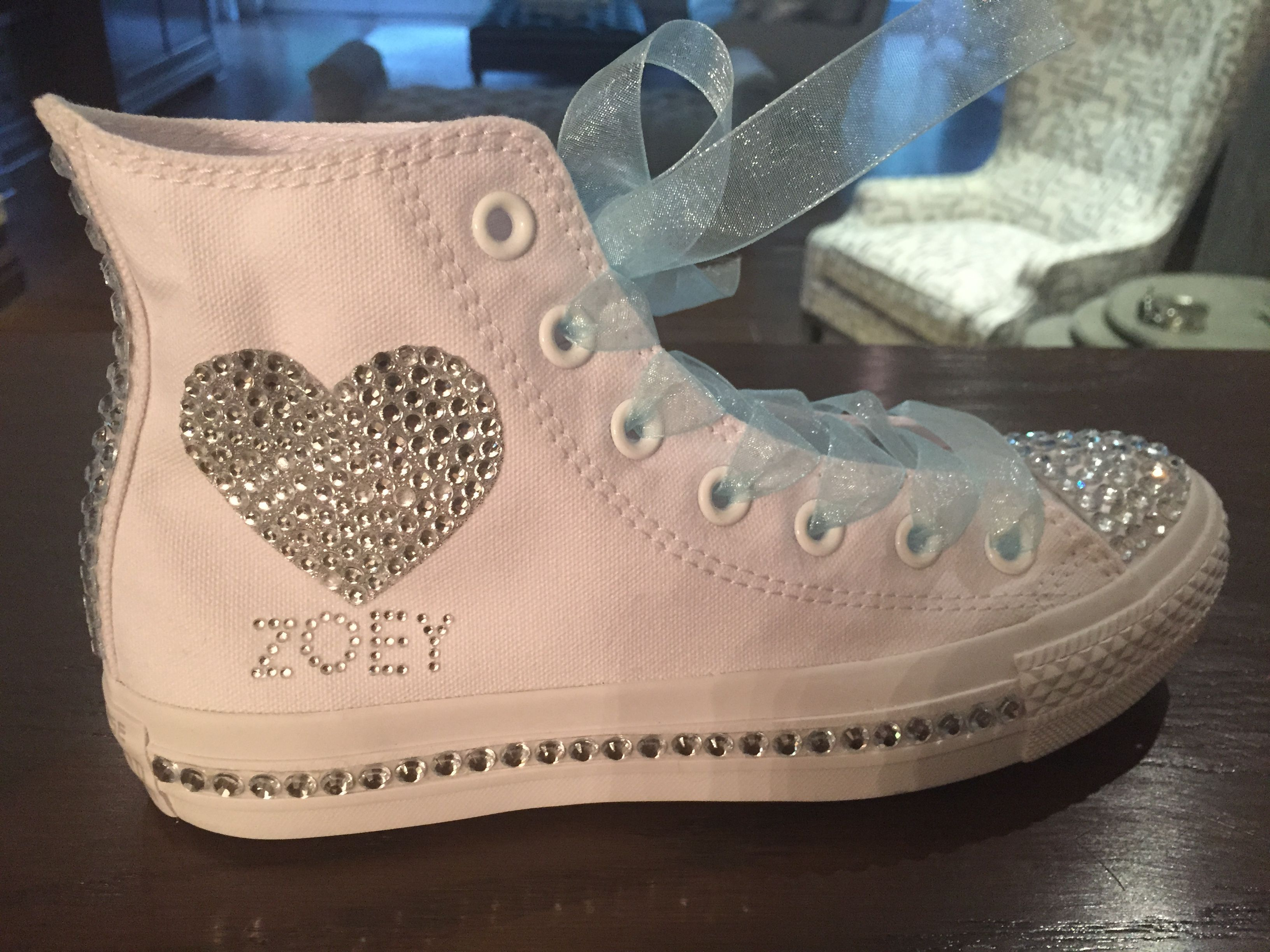 Custom Bling Converse sneakers for your special day Bat Mitzvah