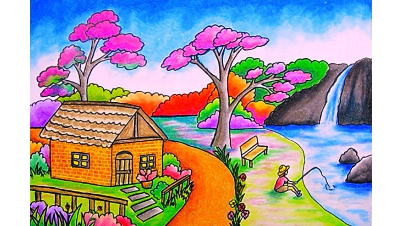Cara menggambar pemandangan Rumah dan Air terjun Dengan