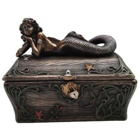 Bronze Mermaid Jewelry Box 5355 wwwMermaidGardenOrnamentscom