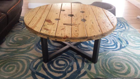 Coffee Table, Industrial Spool, Urban Cable Spool Reclaimed Wood Steel Frame Metal Legs #cablespooltables