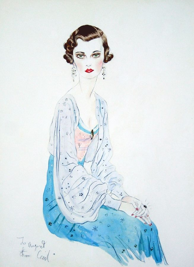 Portrait of Margaret, Duchess of Argyll - 1934 - by Sir Cecil Beaton - Watercolour and pencil - 61x45.5cm. - @~ Mlle