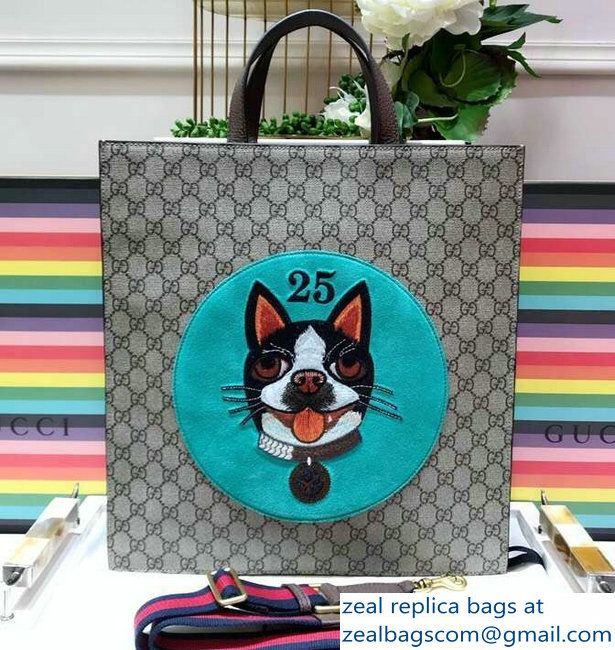 aeec588750ce Gucci GG Supreme Boston Terriers Bosco Tote Bag 450950 Green Patch  2018_2803115378