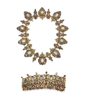 19TH CENTURY AUSTRO-HUNGARIAN NECKLACE AND TIARA HAIR-PIECE