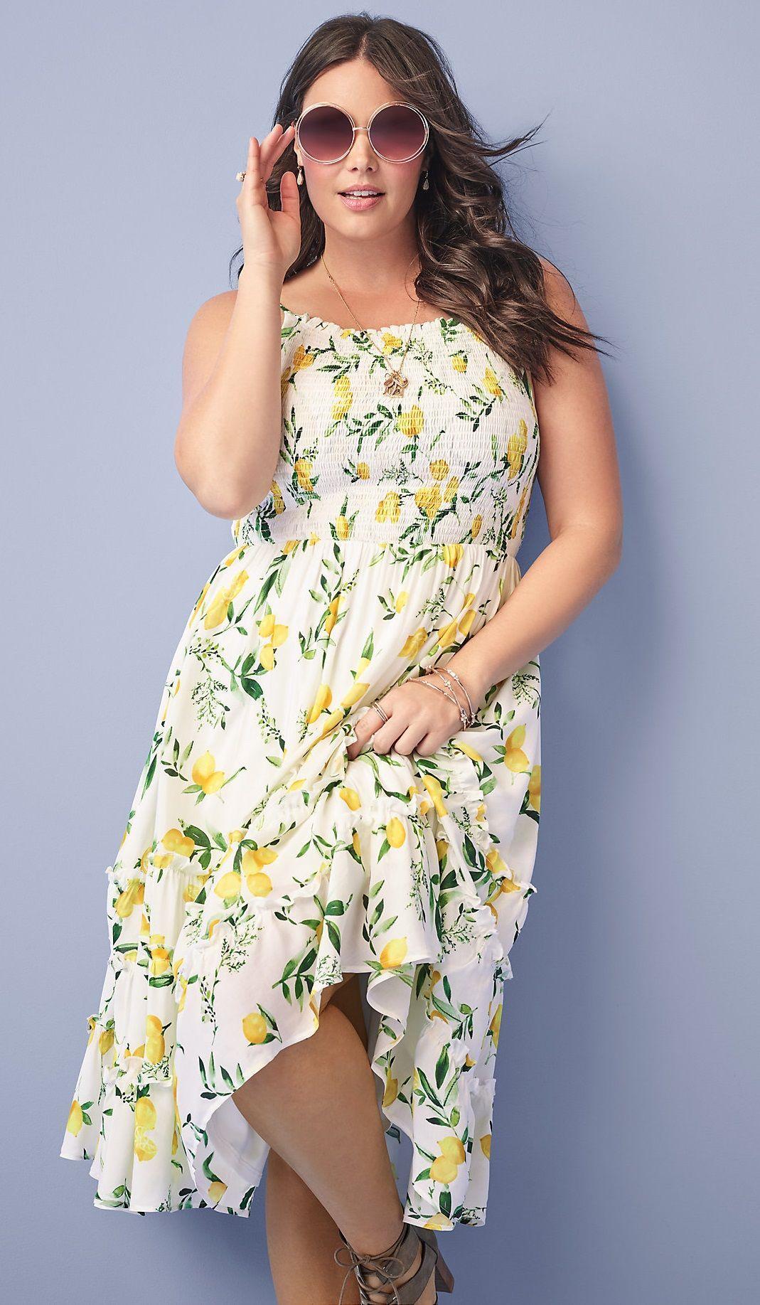b8d978a42b Plus Size Lemon Smocked Midi Dress | fashion | Midi dress plus size ...
