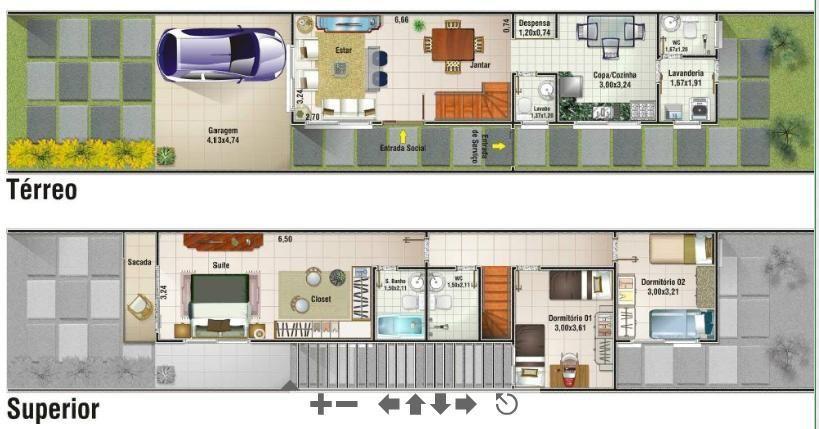 Favoritos Projetos de sobrados com 6 metros de frente | Duplex plans, Small  QN97
