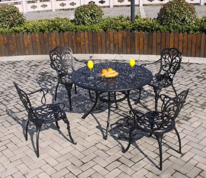 Brundle Gardener - 4 Seater Aluminium Dining Set Black Garden