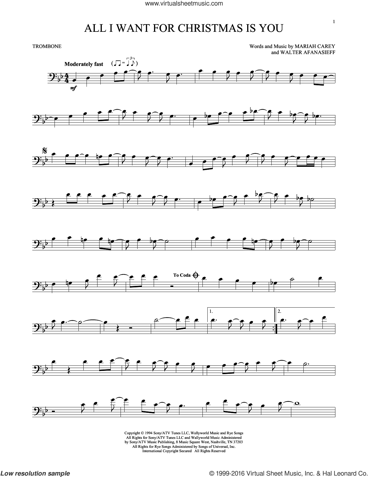 All i want for christmas is you sheet music for trombone solo by all i want for christmas is you sheet music for trombone solo by walter afanasieff and hexwebz Image collections