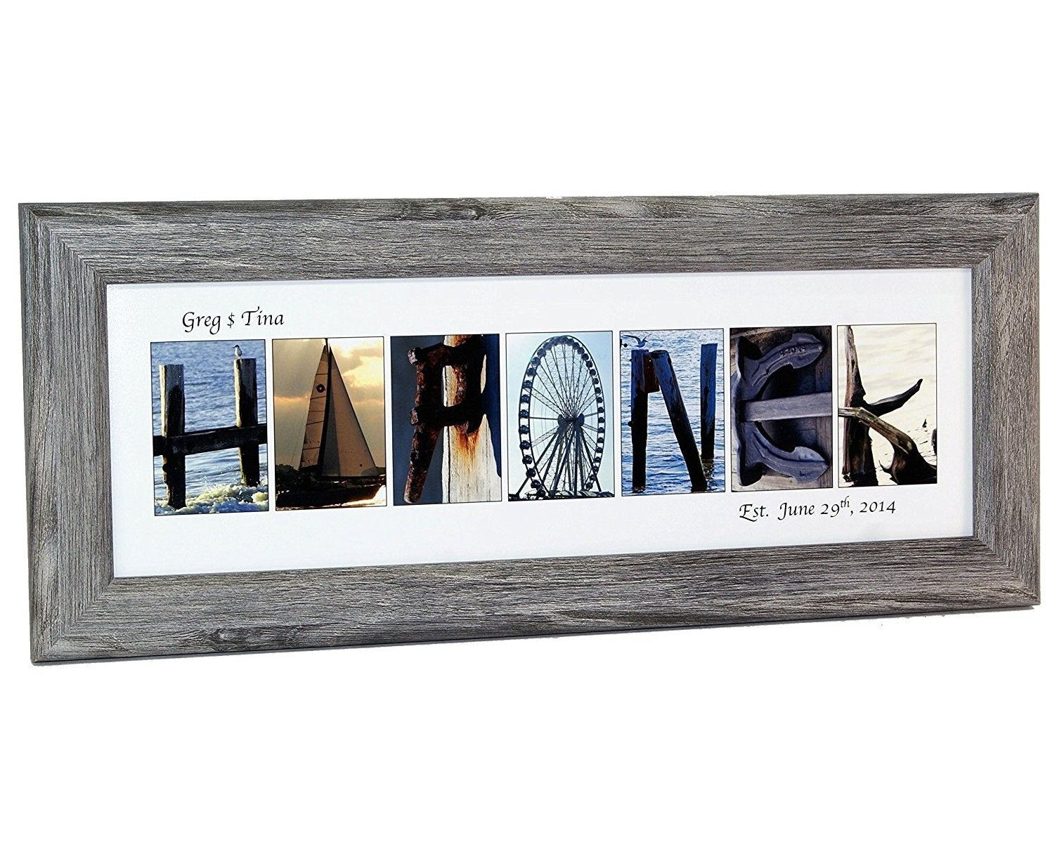Creative Letter Art  Personalized Framed Name Sign With Beach And
