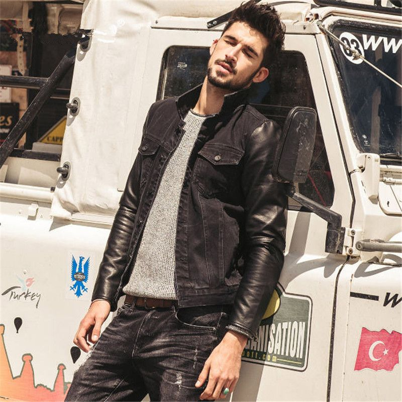 c043bcc4b34 Click to Buy << Men Slim Jacket New Fashion Leather Sleeve Casual Denim  Jacket Black Cotton Jean Jackets Men Jaqueta Jeans Masculina A1606  #Affiliate
