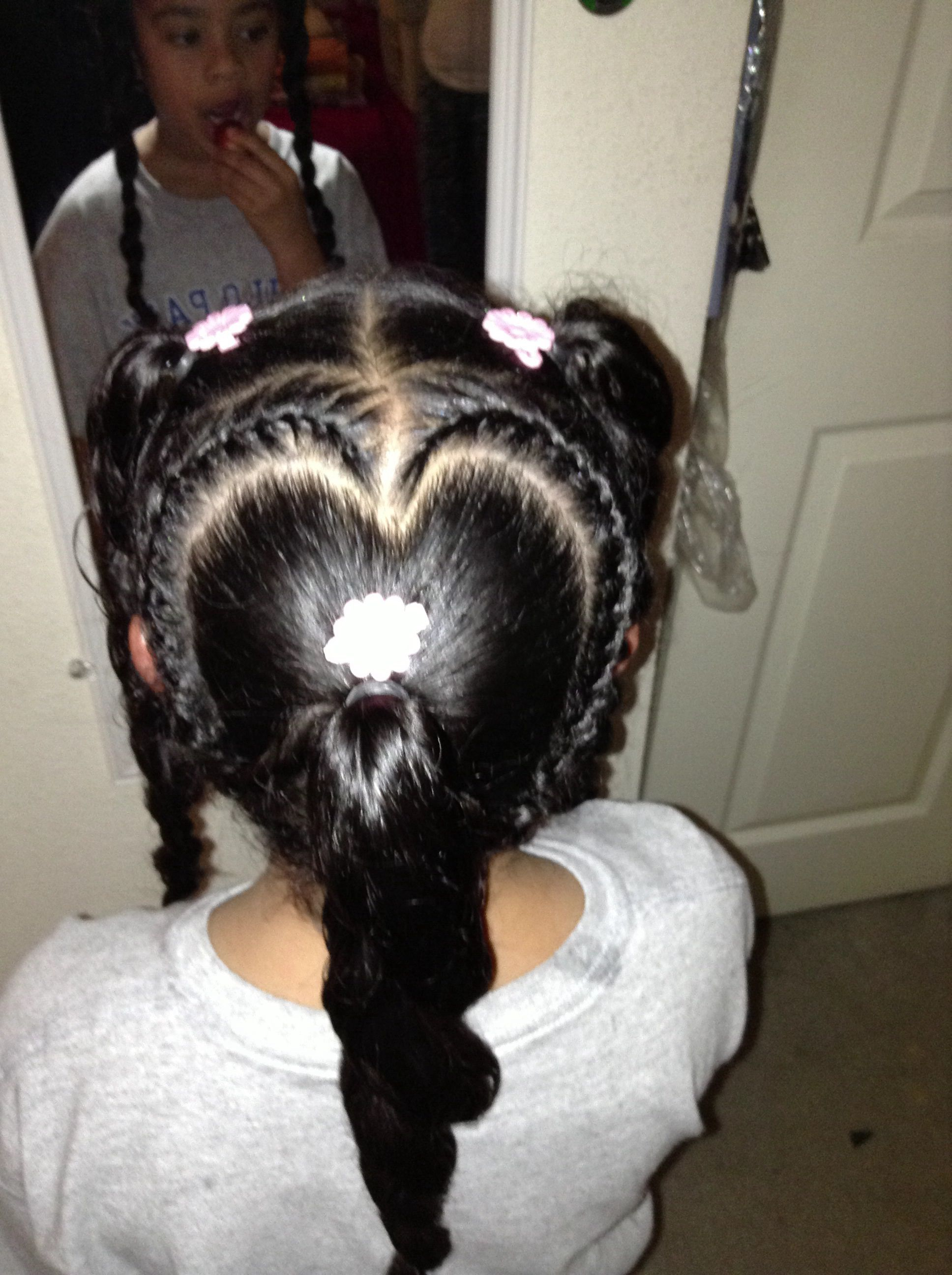 Heart Shaped Braid Hairstyles For Little Black Girls Kids