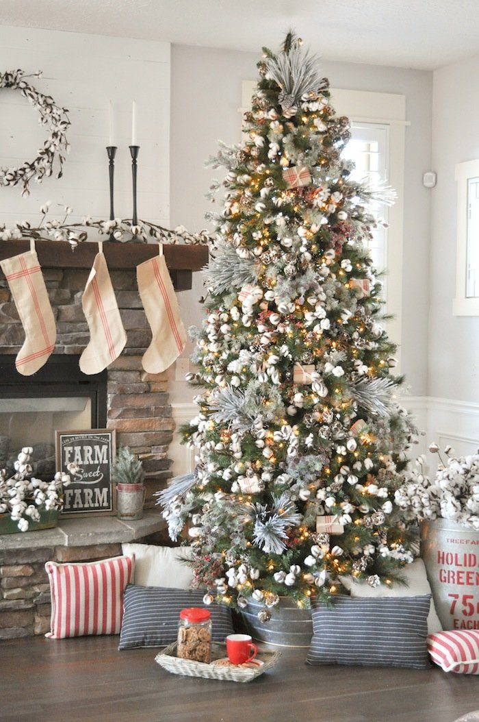 Farmhouse christmas tree christmas ideas rustic - Modern christmas tree ideas ...