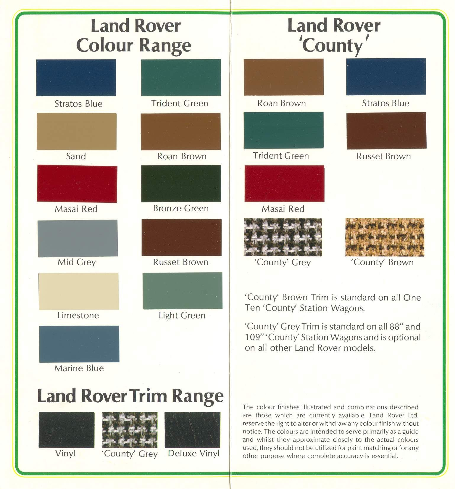 Farben Stage One Series 3 Pinterest – Land Rover Defender Wiring Colours