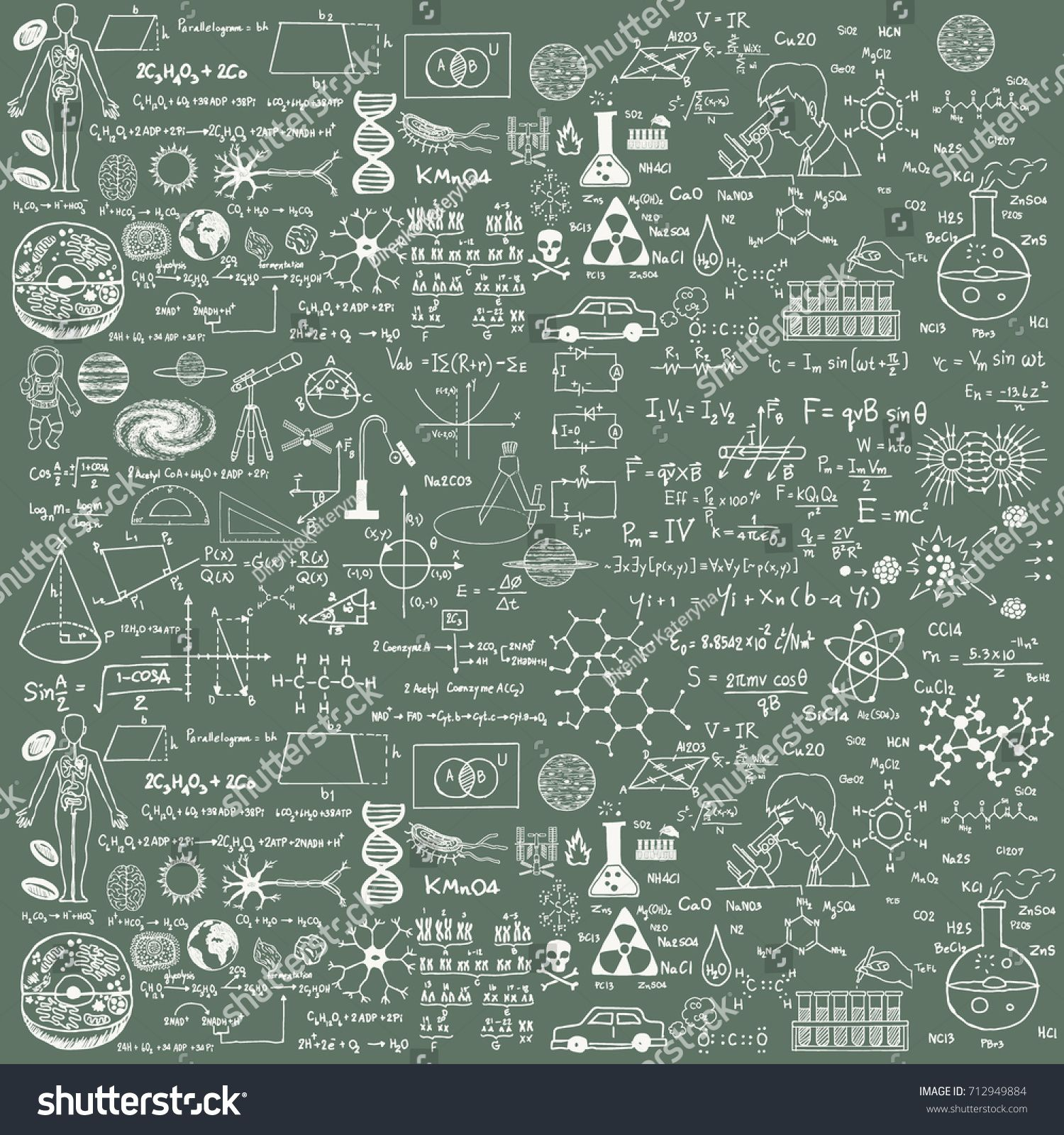 Background Of A School Board With Scribbles Painted Chalk A Traditional Image Of Chemistry And Algebra I Print Designs Inspiration School Board School Themes