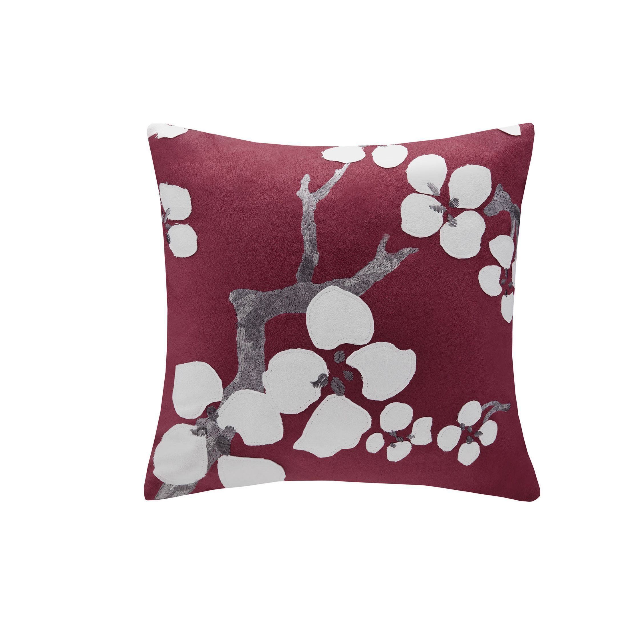 N Natori Cherry Blossom Red Square Pillow (18x18-Red), Size 18 x 18 (Polyester, Applique)