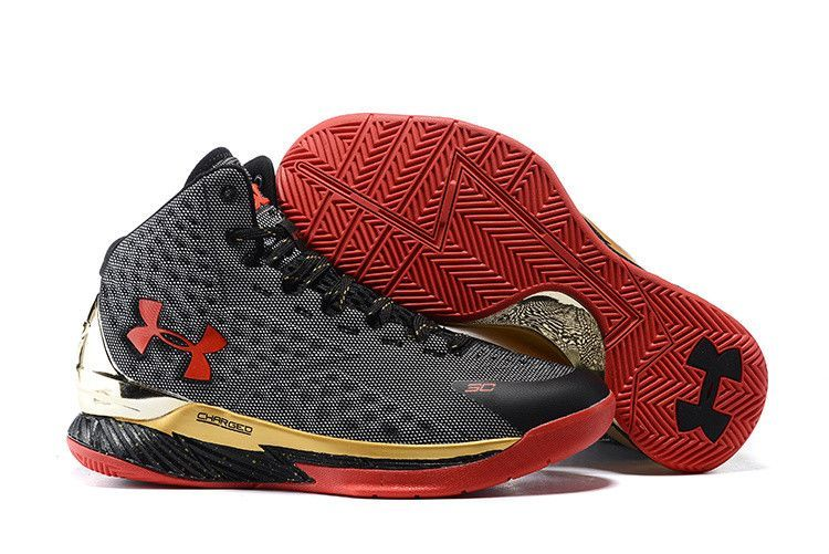 Men\u0027s Under Armour Stephen Curry One Black Grey Red Basketball Shoes