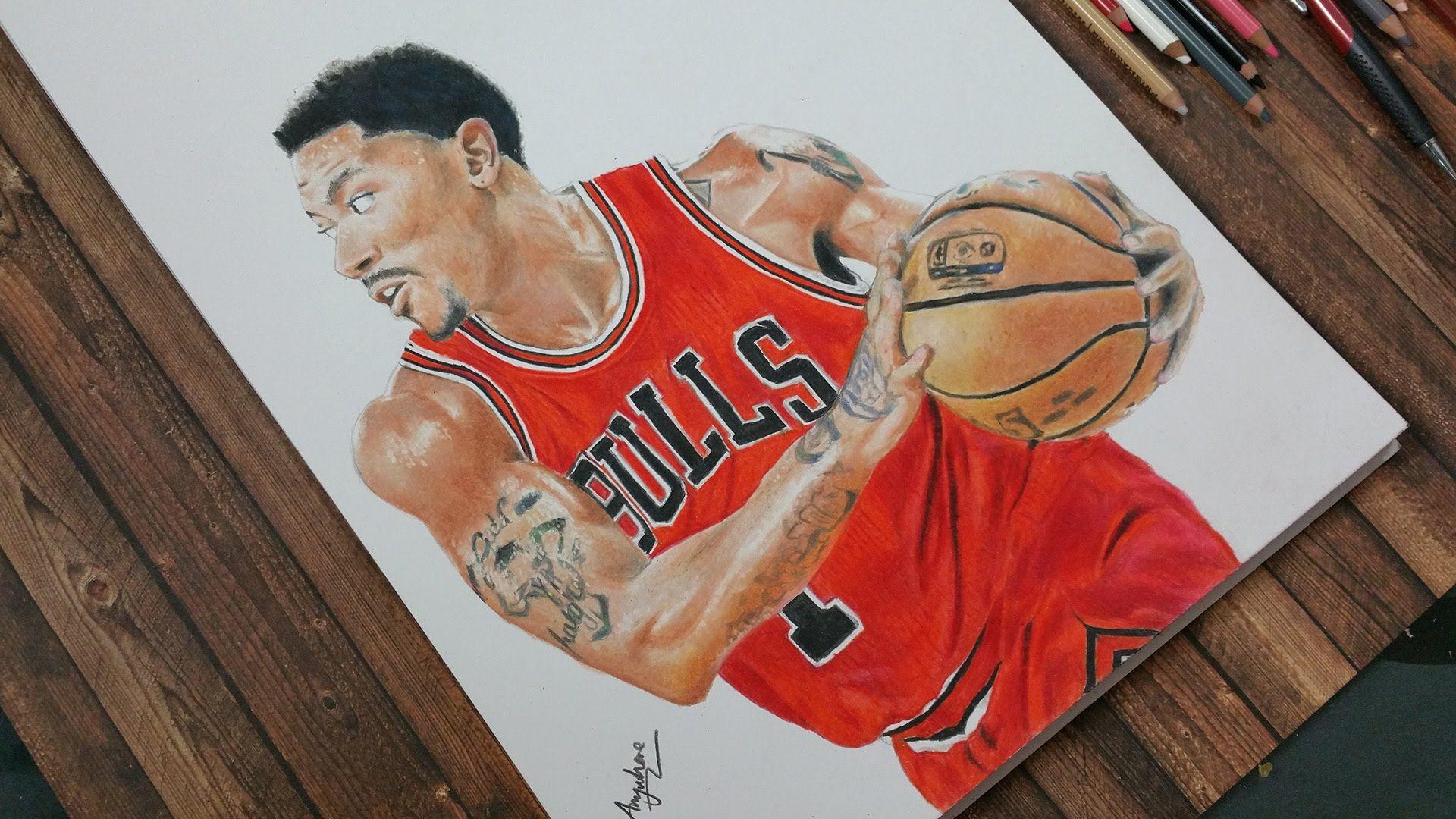 drawing derrick rose chicago bulls