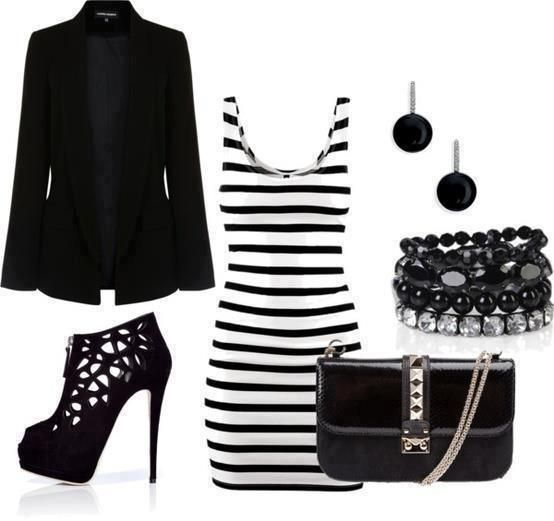 stripped dress black jacket fashion accessories combination high heels handbag