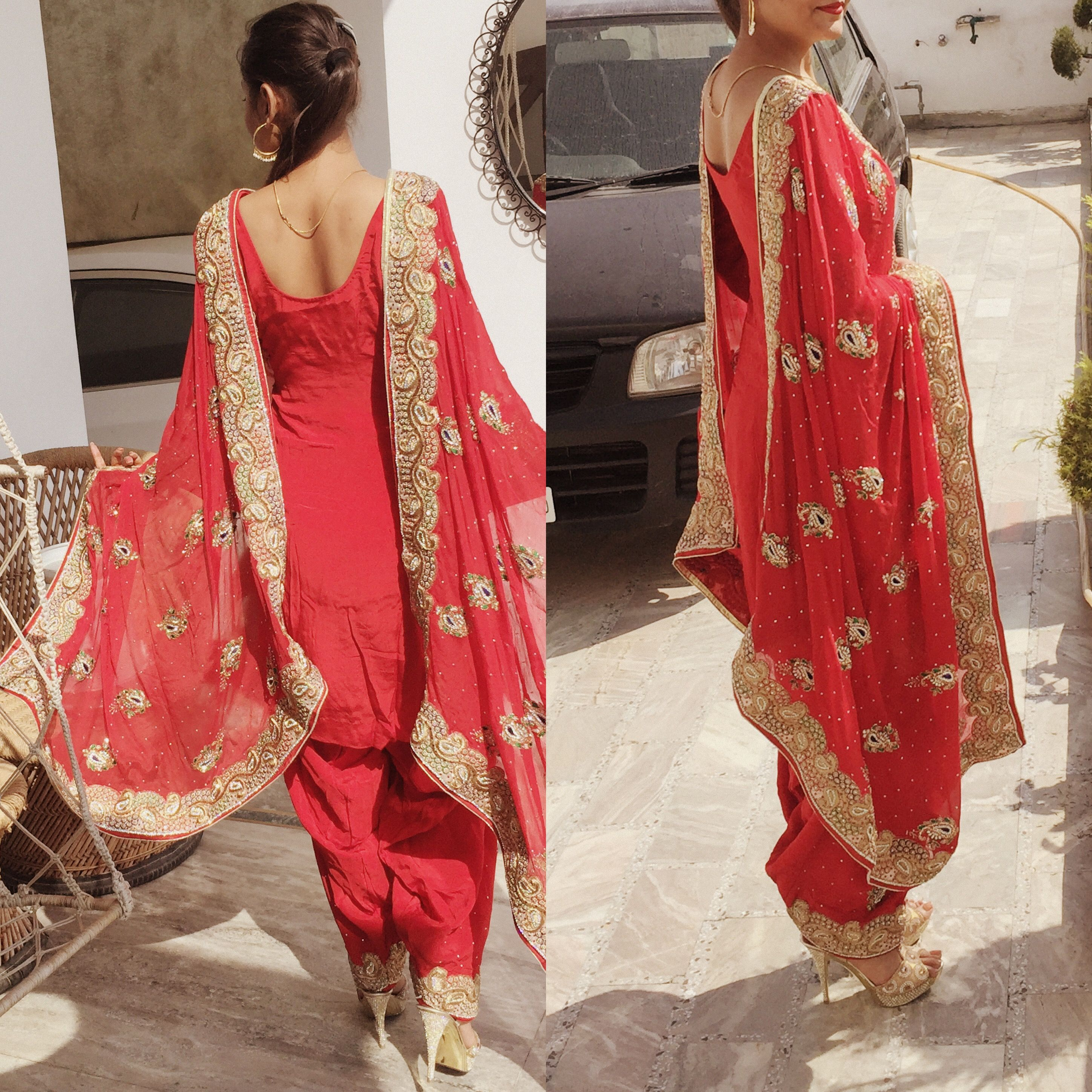 email sajsacouture@gmail.com for this red punjabi suit | Dresses ...