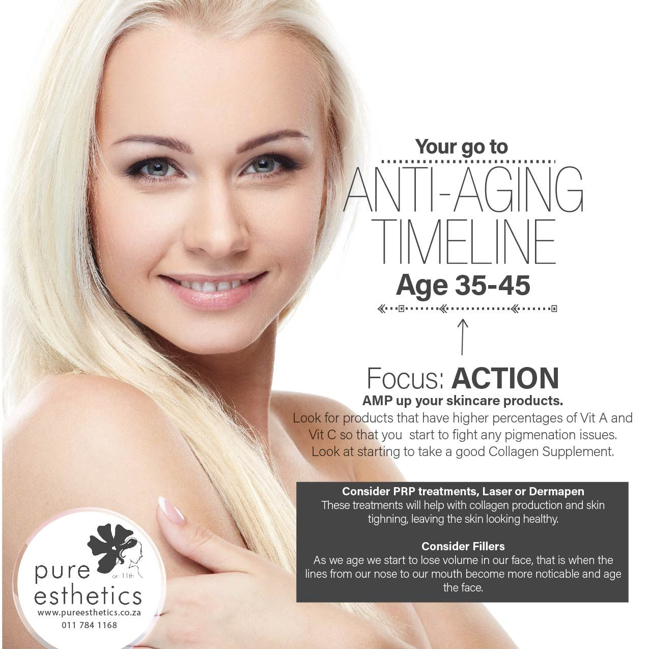 Your Go To Anti Aging Timeline Age 35 45 Focus Action Amp Up Your Skincare Products Consider Prp Treatments Laser Skin Care Treatment Skin Health