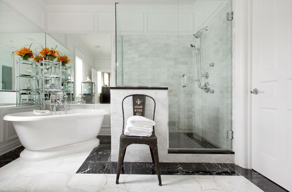 Chic frameless glass shower doors in Bathroom Contemporary with ...