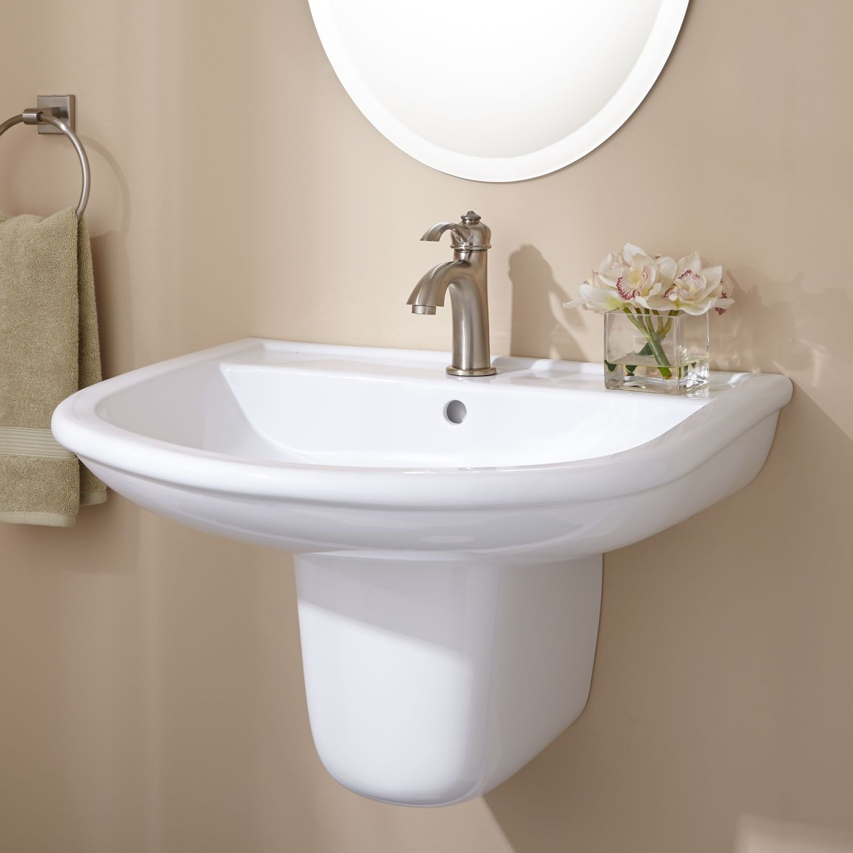 Burgess Porcelain Wall Mount Semi Pedestal Sink Sinks Bathroom