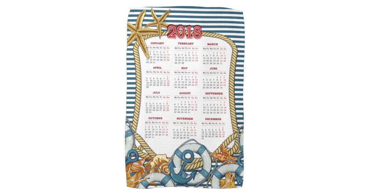 2018 Nautical Moments Navy Blue Towel Calendar Towels