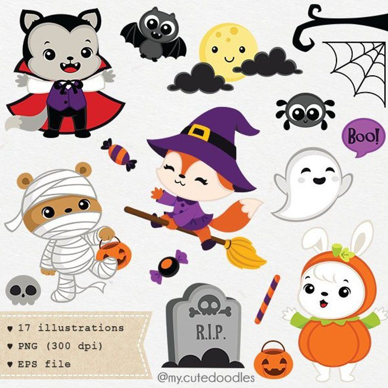 Halloween friends clipart Halloween Clip art Wolf cute ...