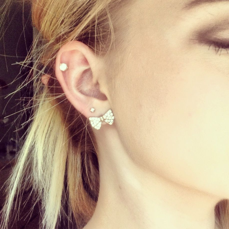 Cartilage piercings. Bows bows bows, simple, but beautiful