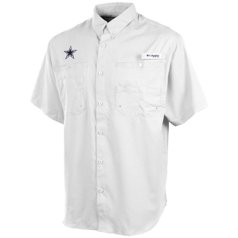 outlet store 1d306 9118c Dallas Cowboys Columbia Tamiami Fishing Shirt - White ...