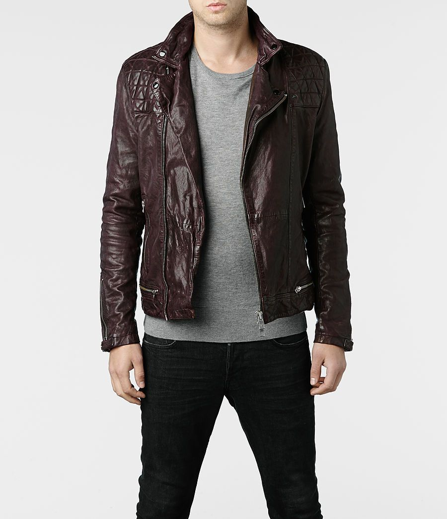 Mens Conroy Leather Biker Jacket (Oxblood) |