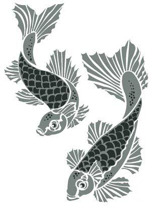 Fish stencils koi carp stencil interior design patterns for Koi fish stencil