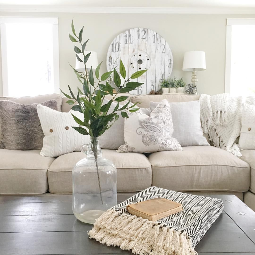 Modern Farmhouse Cozy Couch And Throw Pillows Cable Wheel Repurposed Clock Lavenderbrookfarm On Instagram Cozy Couch Pillows Lavender Pillows