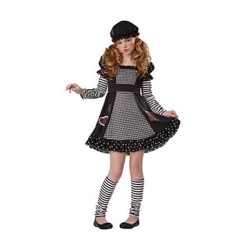 gothic rag doll totally ghoul halloween costume size child girl medium ages 8 14
