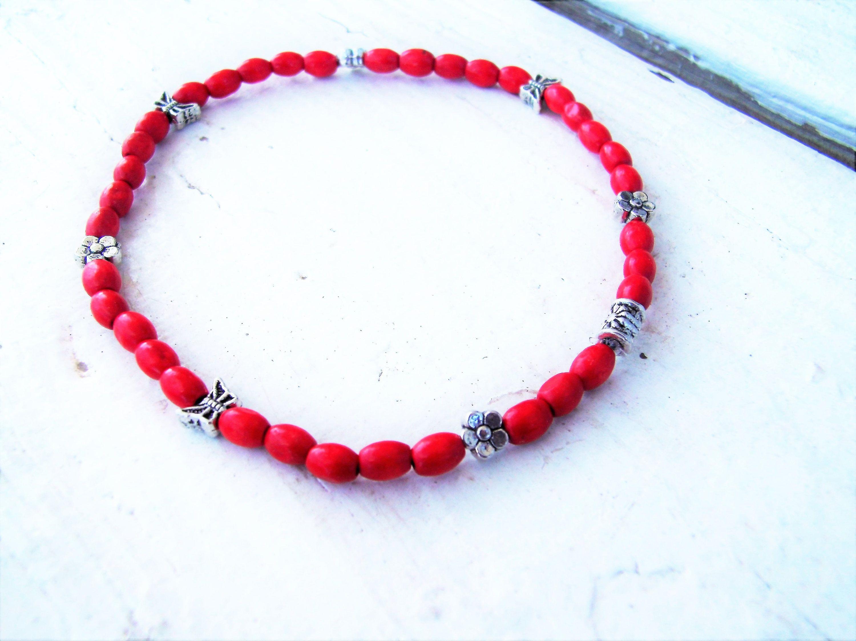 Red wooden beads anklet 0tKGSBBm