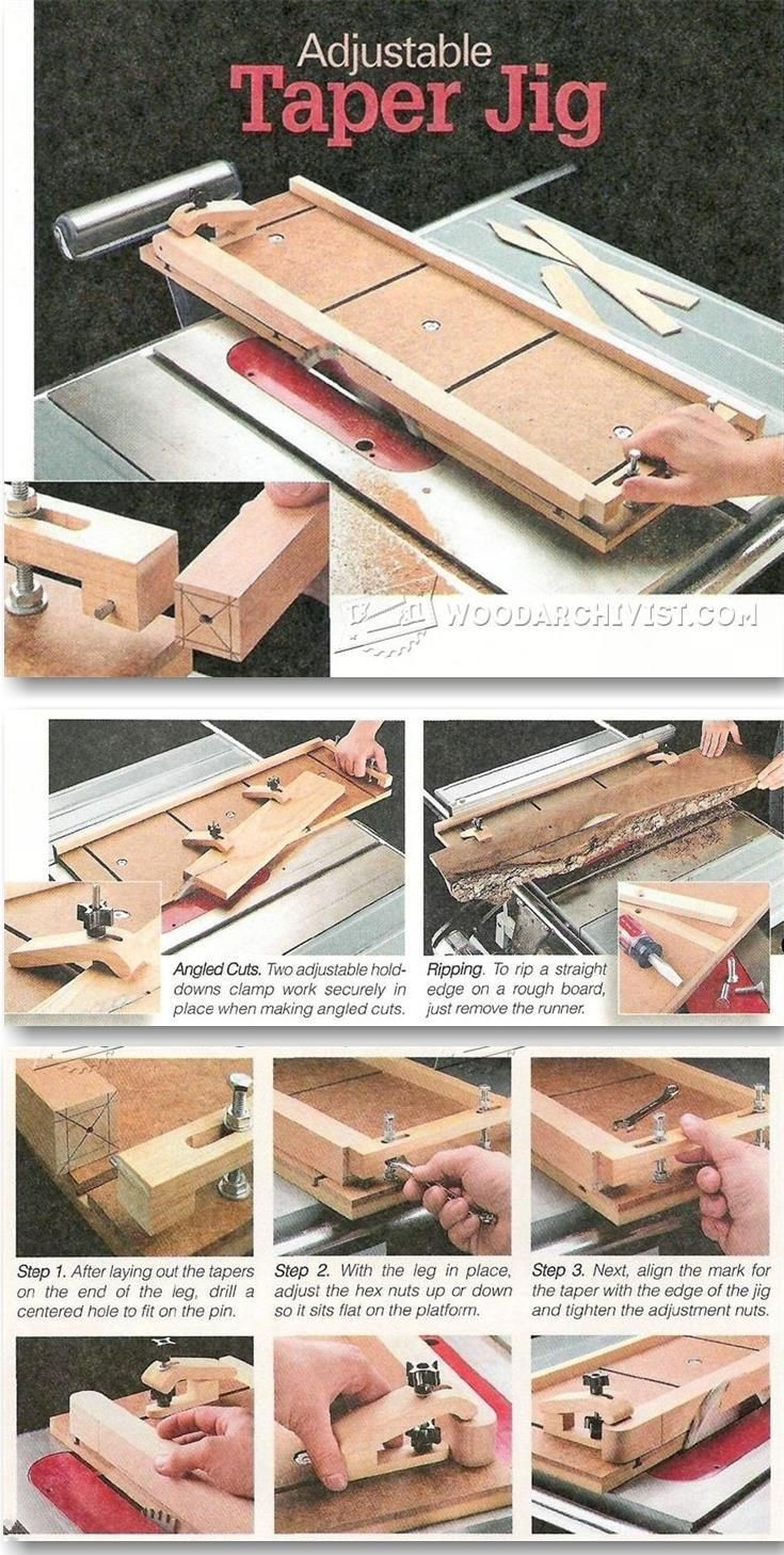 Adjustable Taper Jig Plans Furniture Legs Construction Techniques Woodarchivist Com Table Saw Woodworking Projects Taper Jig