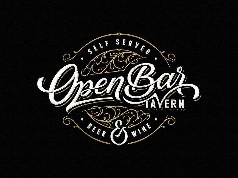Open Bar Tavern Vintage Logo Design Letter Logo Lettering