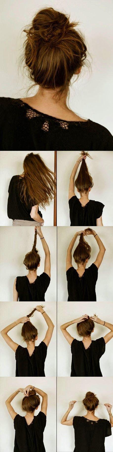 Super easy knotted bun updo diy hair pinterest bun updo