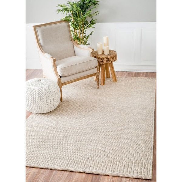 Nuloom Handmade Flatweave Contemporary Solid Cotton Beige Rug 7 6 X 9