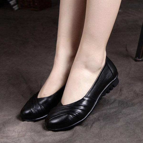 Socofy Faits À La Main En Cuir De Couleur Pure Chaussures Plates Rétro Confortables GvwhbLji