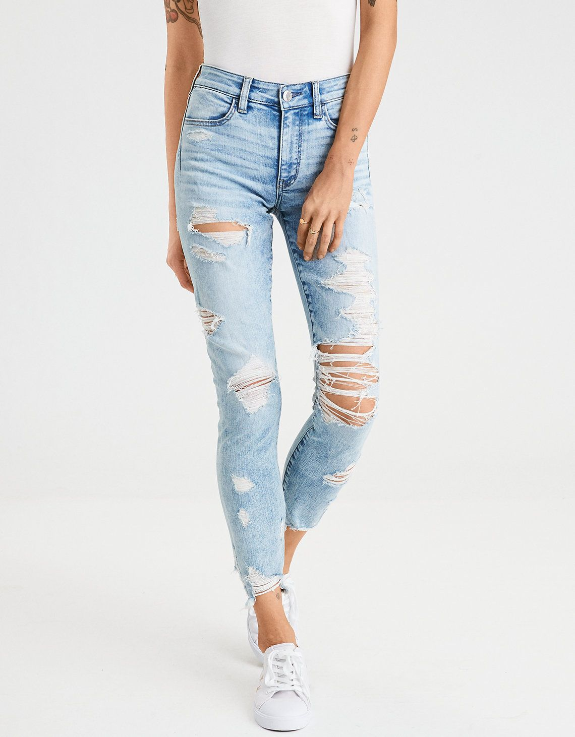 b4656b25d8a79 Cutest ever high waisted destroyed dressed light wash cropped denim jeans  summer 2018 American Eagle