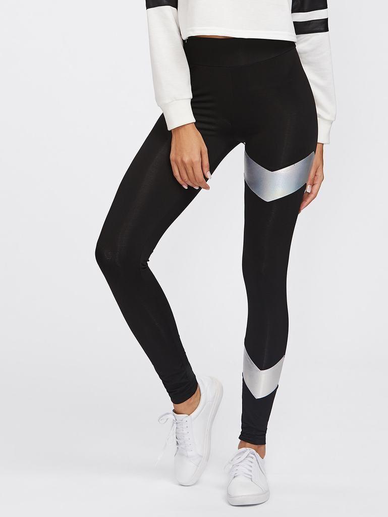 92447a58b8483 Metallic Chevron Panel Detail Leggings in 2019 | Women's Activewear ...