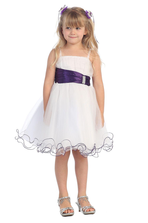 Eggplant accented waistband Mini tulle flower girl dress G3018-EG $49.95 on www.GirlsDressLine.Com