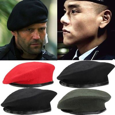 f96901803107b Unisex Military Army Soldier Wool Beret Hat Men Women Uniform Cap Plain  Fashion