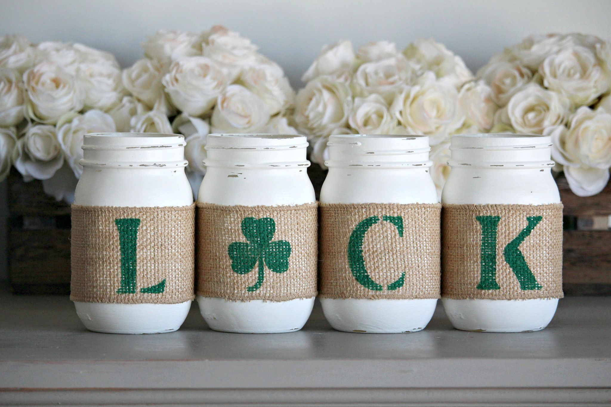 St Patrick's Day Rustic Home Decor , Irish Table Decor is part of Home Accessories Decor Mason Jars -