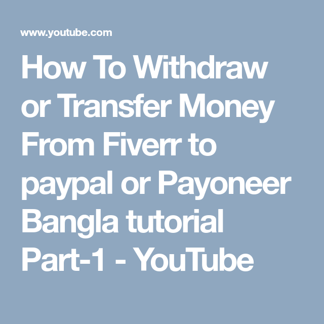 How To Withdraw Money From Fiverr To Paypal