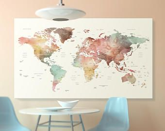 Brown watercolor world map canvas world map wall art detailed brown watercolor world map canvas world map wall art detailed print push pin world gumiabroncs Choice Image