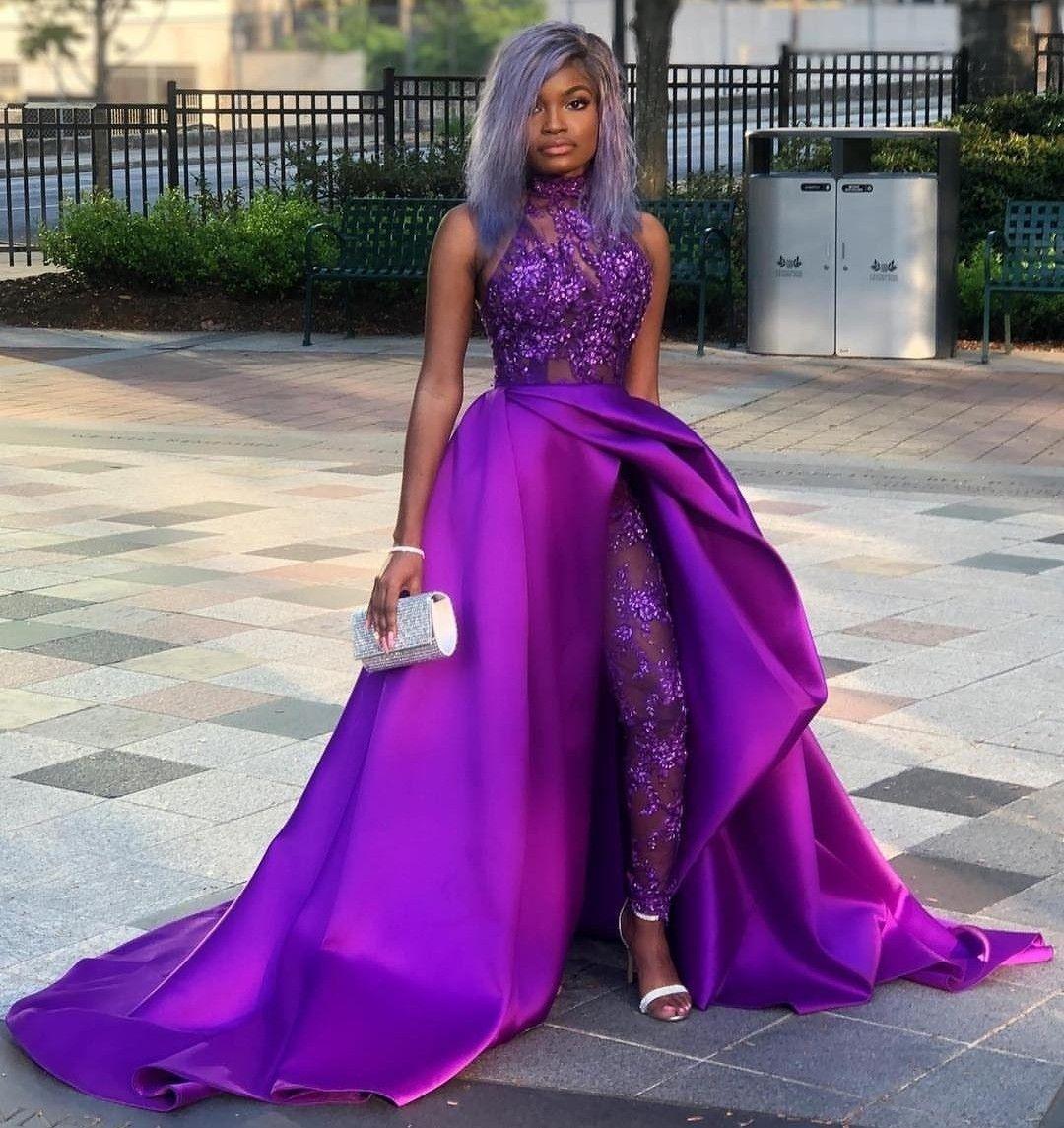 Purple Jumpsuit Gown African Prom Dresses Prom Dresses Under 100 Satin Formal Dress [ 1145 x 1080 Pixel ]